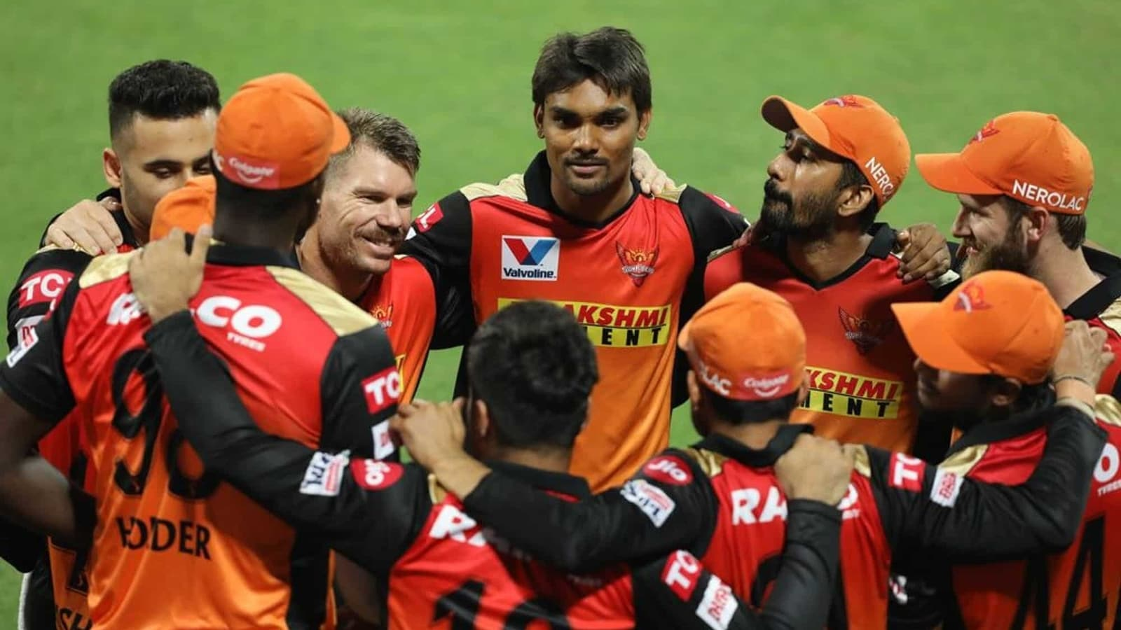 David Warner cheers for the Sunrisers Hyderabad in the Indian Premier League