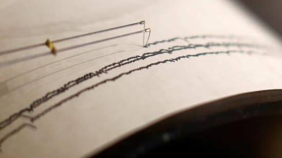A working seismograph is shown in a display about earthquakes. (Reuters)