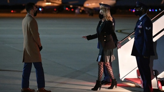 US First Lady Jill Biden deplanes upon arrival, after returning from a visit to California, at Andrews Air Force Base in Maryland, U.S. April 1, 2021. (REUTERS)