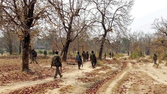 Security force personnel patrol after an attack by Maoist fighters in Bijapur in the central state of Chhattisgarh.(REUTERS)