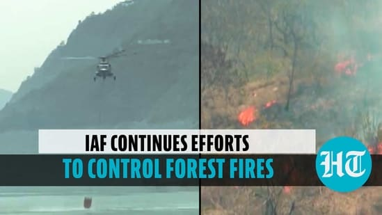IAF chopper lifts water in bucket to douse forest fire in Uttarakhand