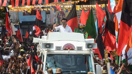 Dravida Munnetra Kazhagam (DMK) President MK Stalin during a roadshow in support of party Youth Wing leader and candidate from Chepauk-Thiruvallikeni constituency Udhayanidhi Stalin, ahead of Tamil Nadu Assembly Polls, in Chennai, Sunday, April 4, 2021. (PTI)