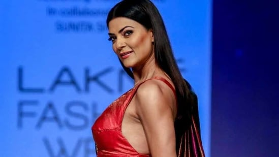 Sushmita Sen walks the ramp showcasing the creations by designer Sunita Shanker during the Lakme Fashion Week in August this year .(PTI)