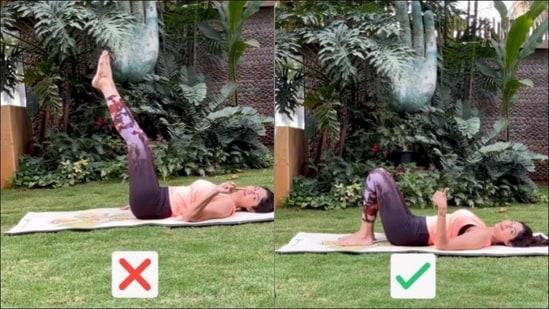Shilpa Shetty corrects fitness freaks' Cycling Yoga flow or Pada Sanchalanasana(Instagram/theshilpashetty)