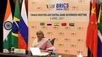 Finance Minister Nirmala Sitharaman during a virtual meeting of BRICS finance ministers and central bank governors meeting in New Delhi. (ANI Photo)