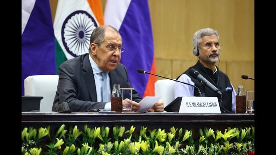 Russia's Foreign Minister Sergei Lavrov and his Indian counterpart Subrahmanyam Jaishankar attend a news conference following their talks in New Delhi. (REUTERS)
