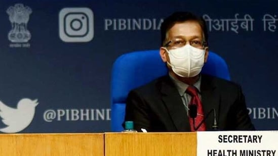 Union health secretary Rajesh Bhushan addressing a press conference in this file photo. He highlighted that three states were cause of concern as cases rose all over the nation, (ANI)