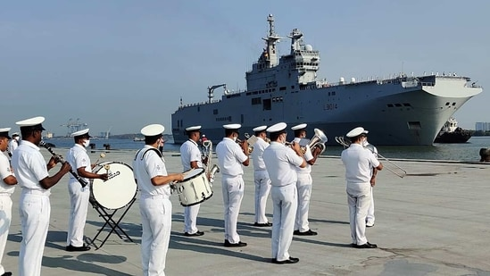 French Navy ships Assault helicopter carrier Tonnerre and Surcouf frigate arrive at Kochi port ahead of France-led 'La Perouse' joint exercise with QUAD members, in Kochi on Tuesday. (ANI)