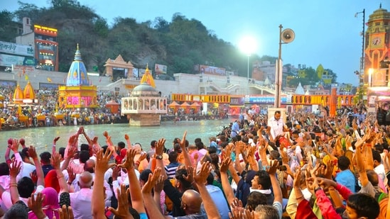 """A senior official in the Central government, during a Secretary-level meeting over the Covid-19 situation in the country on Monday, expressed apprehension that the ongoing Kumbh might become a """"super spreader"""",. (ANI Photo)"""