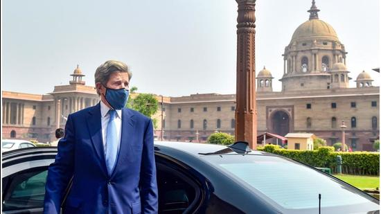 US climate envoy John Kerry in New Delhi. (PTI)