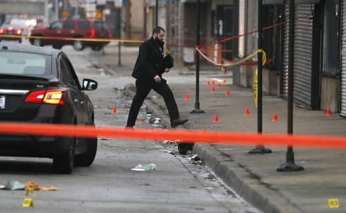 In this file picture from March 2021, Chicago police work the scene of a shooting on Chicago's South Side. The area witnessed gun violence again on Monday as seven people were wounded in a gunfight. (AP/For Representative Purposes Only)