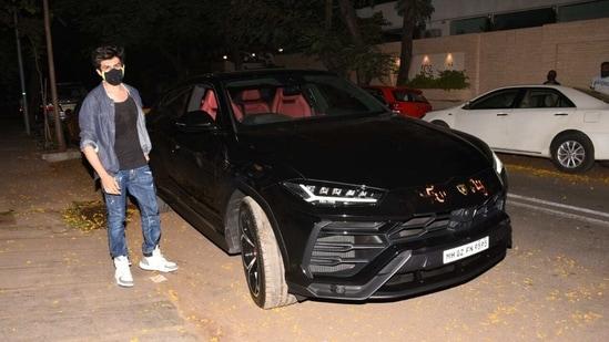 Kartik Aaryan with his Lamborghini.