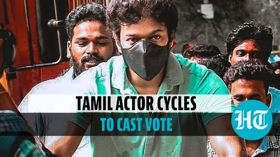 Actor Vijay cycles his way to polling booth