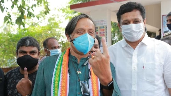 """After casting his vote in Thiruvananthapuram, Shashi Tharoor said """"The other parties are more cadre-based, so be it rain or bad voter turnout they will come and vote whereas UDF voters are regular folks.""""(Twitter/@ShashiTharoor)"""