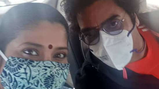 Renuka Shahane shared this photo of herself and Ashutosh Rana after they got the vaccine.