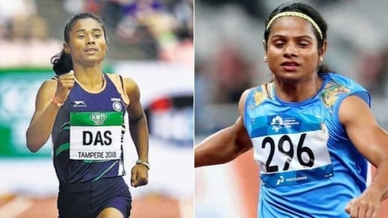 Indian athletes Hima Das (L) and Dutee Chand (R)(HT Collage)