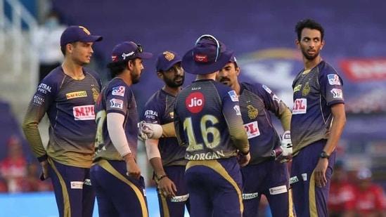 KKR players during an IPL 2020 match(Twitter)