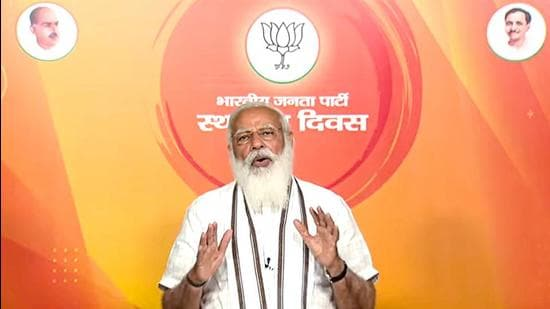 Prime Minister Narendra Modi addresses BJP workers on the occasion of the party's Sthapana Diwas (Foundation Day), via video conferencing, in New Delhi. (PTI)