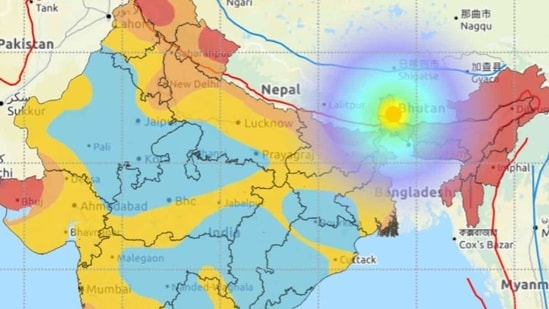 Sikkim-Nepal border earthquake: The magnitude 5.4 quake sent tremors across West Bengal, Assam, Bihar and other parts of eastern India. Tremors were also reported from as far as away is northern Bangladesh, Bhutan, and some parts of China. (Photo via the National Centre for Seismology)