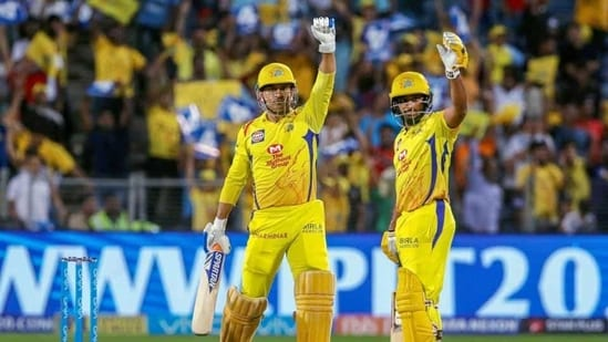 Chennai Super Kings' captain MS Dhoni and player Ambati Rayudu.(PTI)