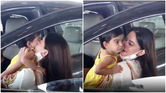 Mahhi Vij with her daughter Tara at the Mumbai airport.