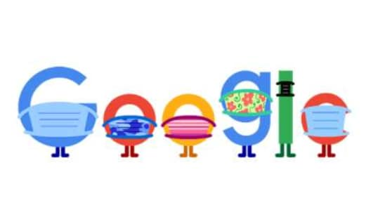 The image shows all the letters of the word Google wearing masks.