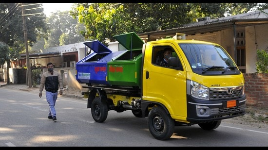 The civic body has pressed its own waste collection vehicles into service across the city. (HT File Photo)