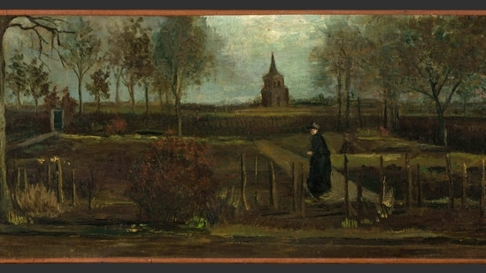"""This image provided by the Groninger Museum on Monday March 30, 2020, shows Dutch master Vincent van Gogh's painting titled """"The Parsonage Garden at Nuenen in Spring"""" which was stolen from the Singer Museum in Laren, Netherlands. (AP)"""