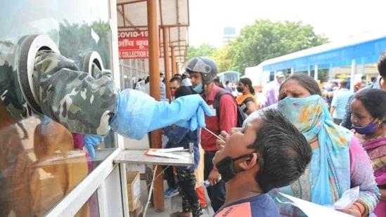 File photo: A long queue of people for Covid-19 test. (Deepak Gupta/Hindustan Times)