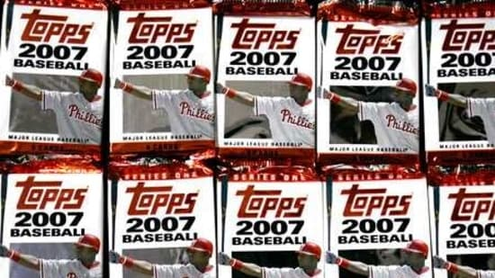 FILE - In this March 6, 2007 file photo, Topps baseball cards are seen in Boston. Sports trading card company Topps is combining with a special purposes acquisition company in a deal valued at $1.3 billion and seeking a public listing. Topps Co. said Tuesday, April 6, 2021, that it will join with Mudrick Capital Acquisition Corp., which will make a $250 million investment. (AP Photo/Chitose Suzuki, file)(AP)