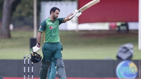 Fakhar Zaman celebrates his hundred against South Africa in the third ODI(Twitter)