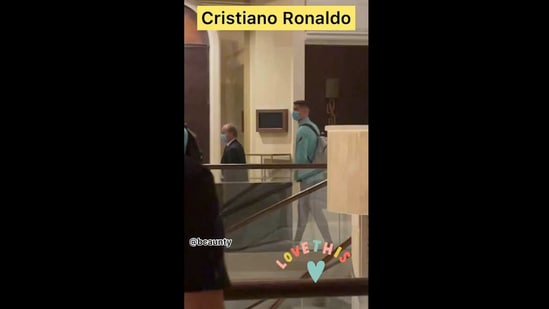 Snehil Dixit Mehra shared a video of Cristiano Ronaldo after spotting the footballer in a hotel in Serbia.(Instagram/@bcaunty)