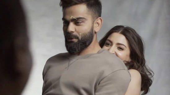 Virat Kohli with Anushka Sharma during an ad shoot.