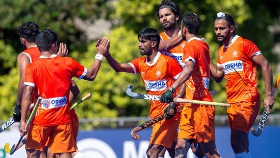 Indian men's hockey team celebrates a goal against Argentina in the first practice match.(Special Arrangement)