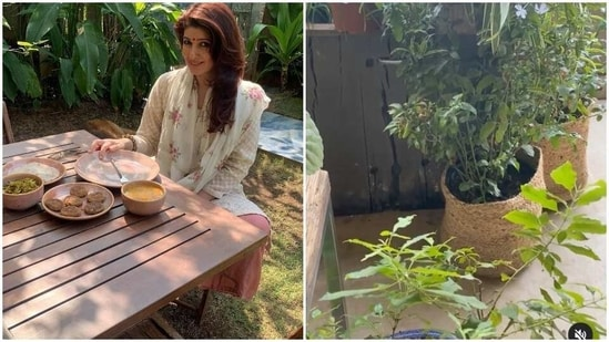 Twinkle Khanna enjoyed her morning tea in her garden on Wednesday.