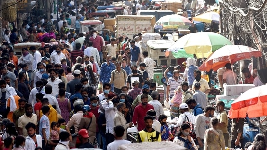 People throng as they flouting norms of social distancing at Sadar Bazar amid the spread of the COVID-19 disease, in New Delhi on Thursday. (ANI)