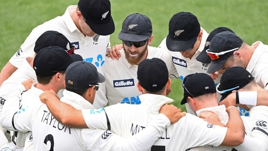 New Zealand team in a huddle(AP)