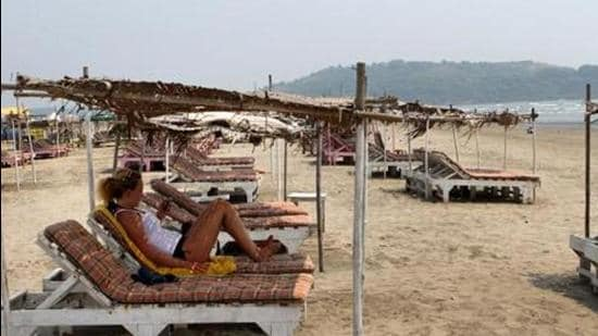 Empty beds at sea side shacks at a beach in Goa. (Hindustan Times/File Photo)