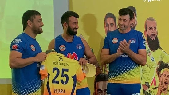Pujara receives CSK official kit from captain MS Dhoni(CSK / IPL)