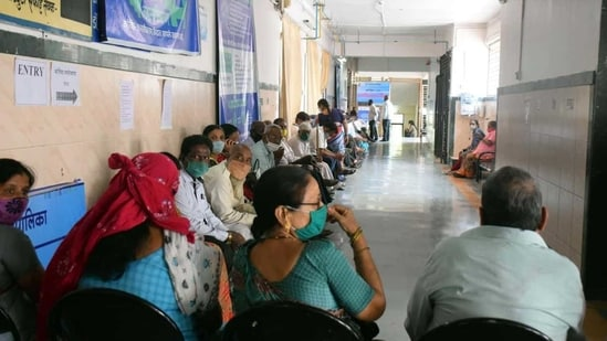 Patients waiting in a hospital in Pune.(HT File Photo)