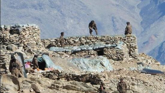 Chinese troops dismantling their bunkers at Pangong Tso region, in Ladakh along the India-China border on February 15, 2021. (AP)