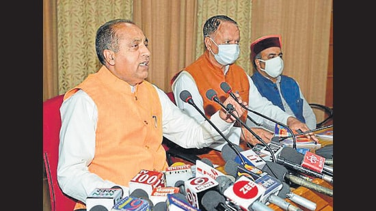 Himachal chief minister Jai Ram Thakur interacting with the media in Shimla on Thursday. (HT Photo)