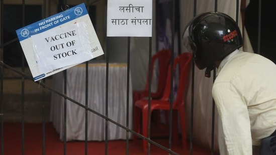 A vaccination centre in Mumbai put up a poster saying vaccine 'out of stock' on Thursday. (Photo by Satish Bate)