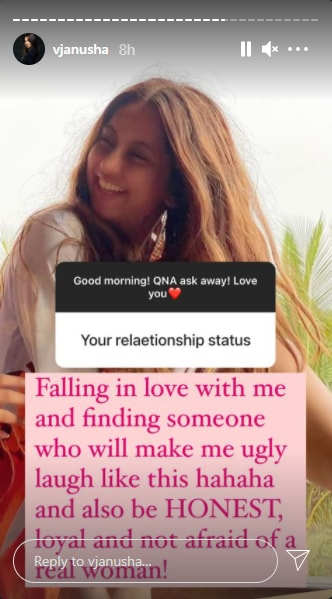 Another fan asked Anusha about her current relationship status.