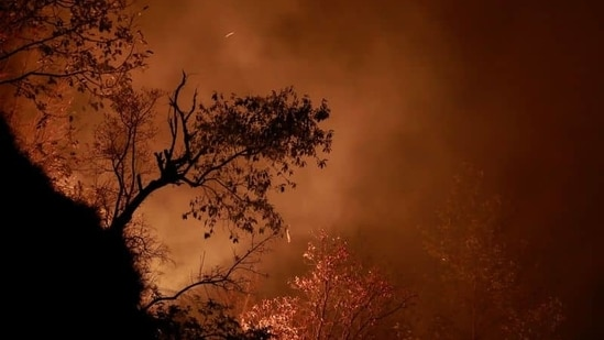 A portion of a hill burns during a forest fire in Makwanpur, outskirts of Kathmandu as forest fires have raged many areas in Nepal contributing to worst air quality in the bowl shaped Kathmandu, Nepal.(Reuters)