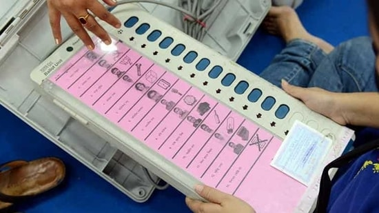 An EVM and its accessories being distributed to polling officials a day before the fourth phase of West Bengal assembly elections in Kolkata on April 9, 2021(ANI Photo)