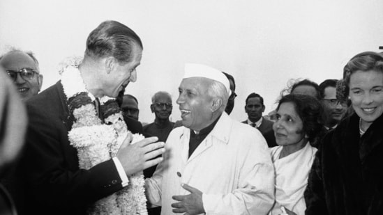 In this Jan. 21, 1959 file photo, India's Prime Minister Jawaharlal Nehru welcomes Britain's Prince Philip to New Delhi. (AP/PTI)