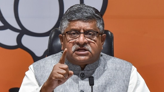 Union minister Ravi Shankar Prasad addresses a press conference at BJP headquarters in New Delhi. He lashed out at Rahul Gandhi over his letter regarding vaccination to PM Modi. (PTI)
