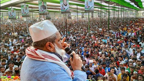 AIUDF presiden Badruddin Ajmal addresses a party rally at Sarukhetri in Barpeta district, Assam. (File photo)