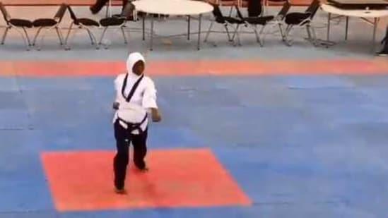 The image shows the Nigerian athlete named Aminat Idrees.(Twitter/@nsf_edo)